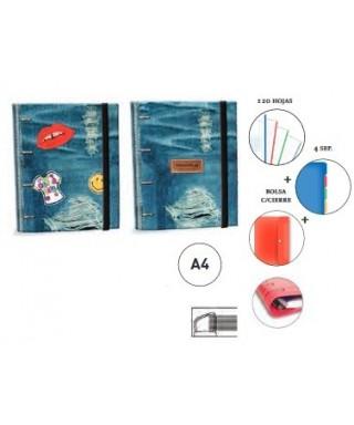 Carpeta A4 de cuatro anillas con recambio Katacrak colección Jeans