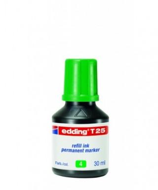 Tinta rellenado rotulador permanente verde- EDDING - T25-004
