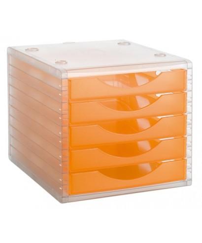 Módulo 5 cajones archivotec naranja translúcido- ARCHIVO 2000 - 4005