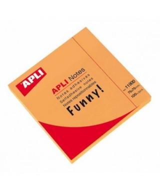 Taco notas adhesivas 76x76 naranja- APLI - 11900