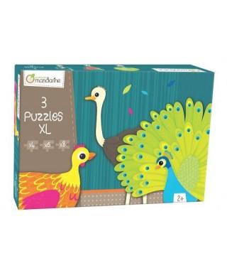 Pack de 3 puzles XL Animales con plumas, MANDARINE - Catálogo Avenue