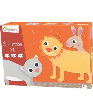 Pack de 3 puzles XL Animales con pelos, MANDARINE - Catálogo Avenue M