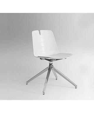 Silla Mindy, con base giratoria, sin brazos, colores, blanco y alumin
