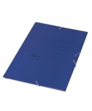 Carpeta cartón cuarto azul con gomas. Económica