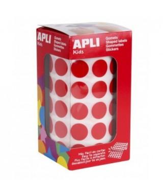 Rollo gomets círculos rojo 15mm- APLI - 4857