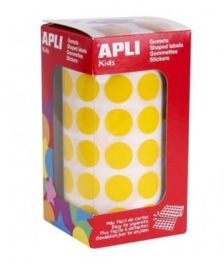Rollo gomets círculos amarillo 15mm- APLI - 4855