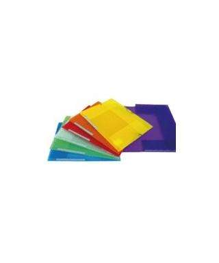 Carpeta plástica con solapa azul translucido-