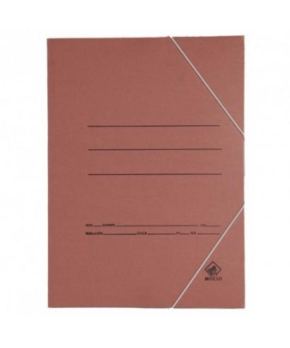 Carpeta cartón folio marrón con gomas