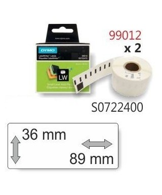 Rollo 260 etiquetas blancas 89x36mm rotuladora- DYMO - 99012 / S07224