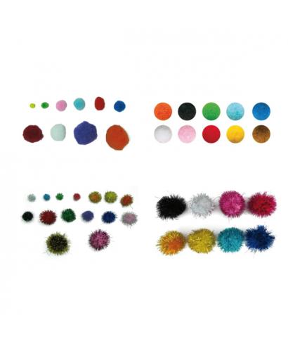 Pompones colores surtidos tamaño 5cm pack 52 unidades – GRAFOPLAS - 6
