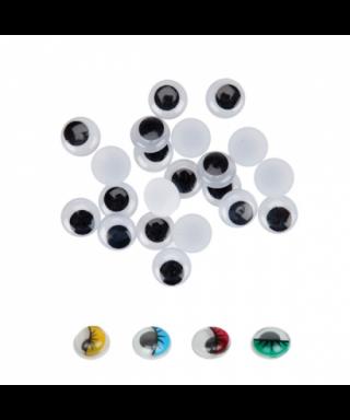 Ojos movibles ovalados adhesivos verdes 15mm. pack 30 unidades – GRAF