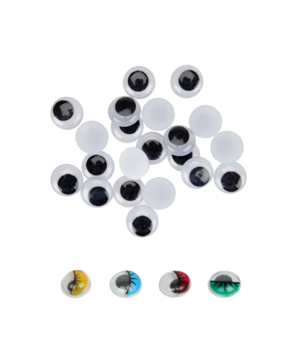 Ojos movibles adhesivos negros 15mm. pack 30 unidades – GRAFOPLAS - 6