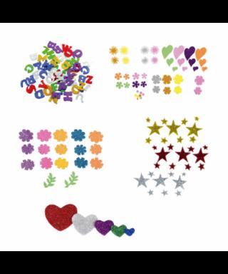 Figuras goma eva adhesivas purpurina troqueladas flores pack 58 figur