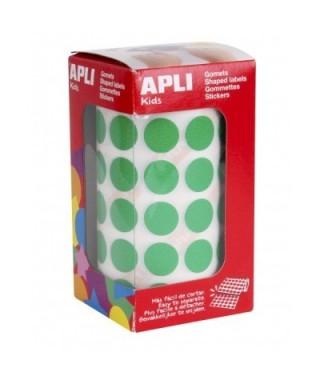 Rollo gomets círculos verdes 15mm- APLI - 4858