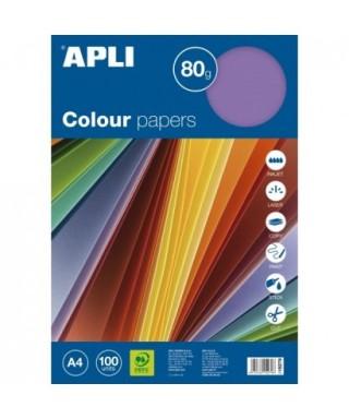 Paquete 100 hojas papel colores surtidos suaves