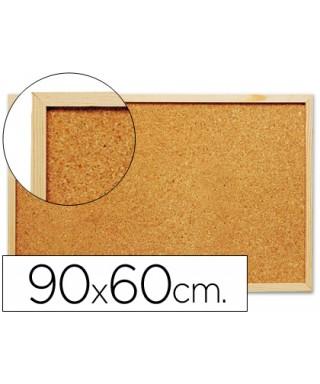 Tablero corcho marco madera. 90x60