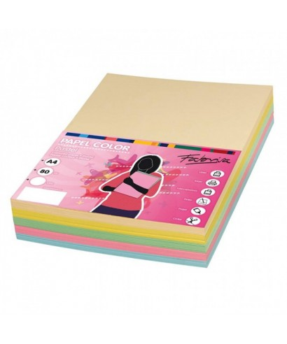Papel A4. 5 colores pastel.