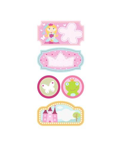Pack de 2 hojas de etiquetas de princesa
