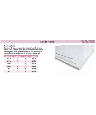 Cartón pluma blanco 70x100 5mm- YOSAN - 05225B70