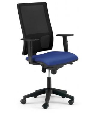 Silla de oficina ergonómica - Mecanismo Syncro - Respaldo regulable en altura. Negro/Azul -  Passion Ref. PYSILLA-DMACC1