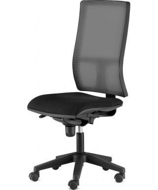 Silla de oficina ergonómica sin brazos - Mecanismo Syncro - Respaldo regulable en altura - Negra - Passion.