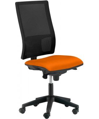 Silla de oficina ergonómica sin brazos - Mecanismo Syncro - Respaldo regulable - Negro/Naranja Passion. Ref. PYSILLA-DMACC2-SIN