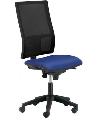 Silla de oficina ergonómica sin brazos - Mecanismo Syncro - Respaldo regulable. Negro/Azul - Passion Ref. PYSILLA-DMACC1-SIN
