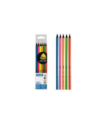 Blister de 6 lápices colores fluor Milan