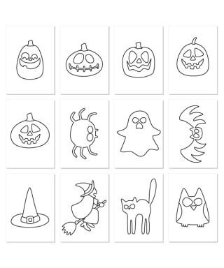 12 cartulinas halloween para recortar