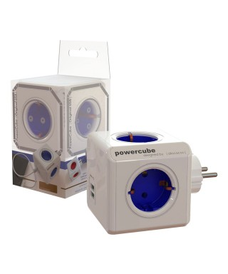 Ladrón power cube + 2 USB azul