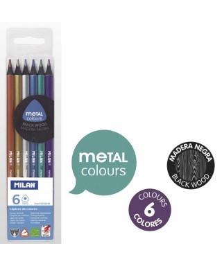 Estuche 6 lápices metal madera negra
