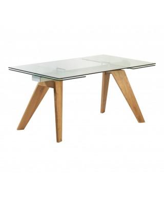 Mesa comedor ext. 160/240cm transparente