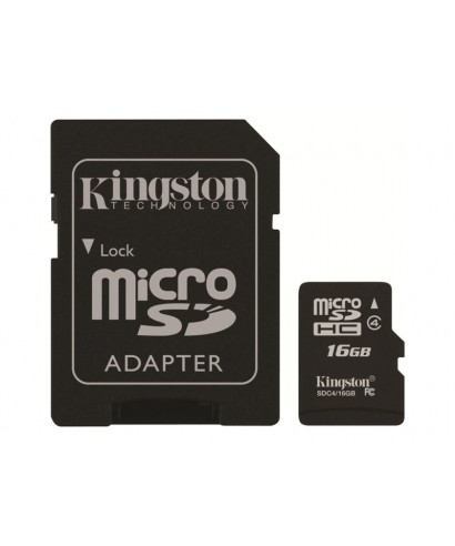 Tarjeta de memoria flash Kingston - 16 GB - Class 4 SDHC - SD4/16GB