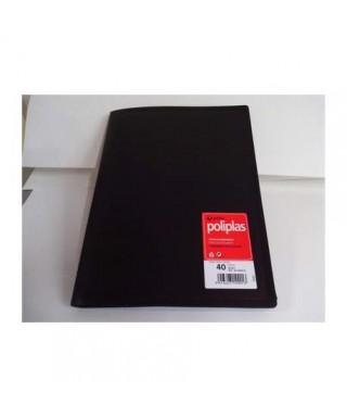 Carpeta poliplás 40 fundas negro