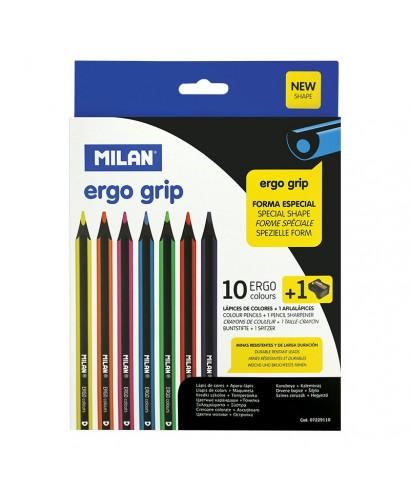 Estuche con 10 lápices de colores Ergo