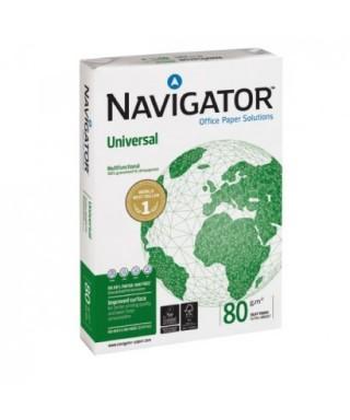 Papel Navigator Universal A4 - 80 grs - Paquete de 500 hojas blancas.