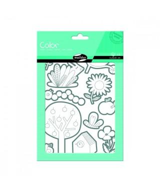 Paq 6h pegatinas Jardín para colorear