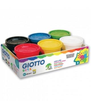 Pack de 6 botes de pintura de dedos GIOT