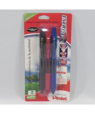 Blister 2+1 Bolígrafos energel BL107. PE