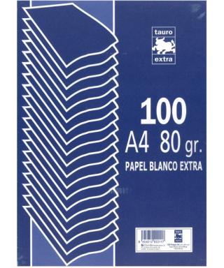 Papel A4 blanco. 80 grs - Paquete de 100 hojas. ZORRILLA