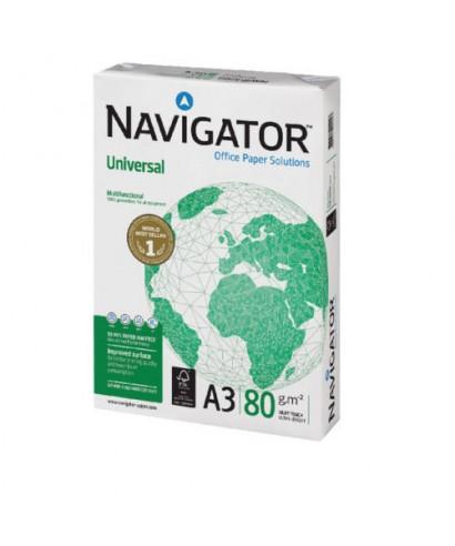 Papel Navigator Universal A3 - 80 grs - Paquete de 500 hojas blancas.