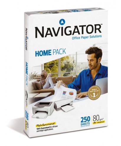 Papel Navigator Home A4 - 80 grs - Paquete de 250 hojas blancas.