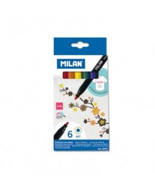 Caja 6 rotuladores textiles, MILAN