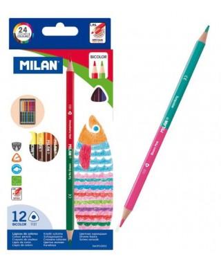 Caja 12 lápices bicolor, MILAN