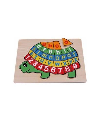 Puzzle de madera, tortuga ABC