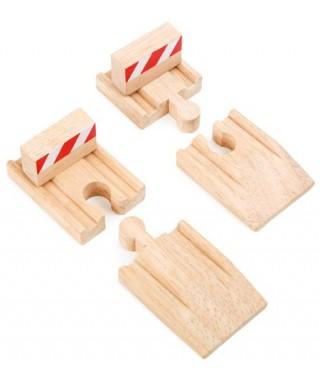 Rampas y toperas para trenes, 4 piezas T