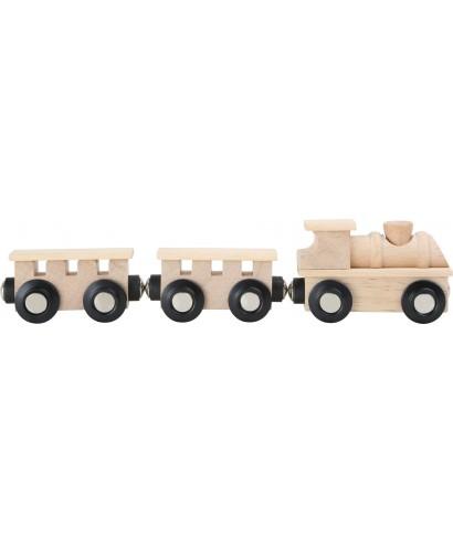 Tren de madera clásico, natural TRAINibl