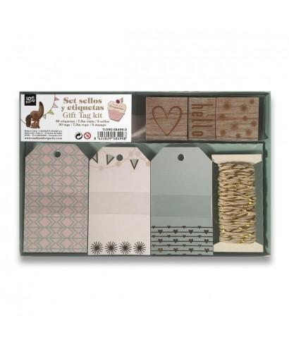 caja de etiquetas con cordón y sello 58499