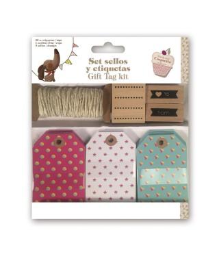 Caja etiquetas con cordón y sello 58498