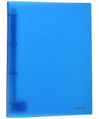 Archivador de 4 anillas plástico azul traslucido